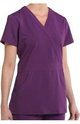 Clearance Nurse Mates Women's Lauren Solid Mock Wrap Scrub Top