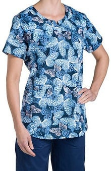 Nurse Mates Women's Nadia Notch Neck Butterfly Print Scrub Top