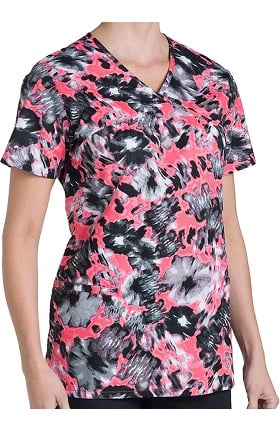 Nurse Mates Women's Naomi Baby Doll Butterfly Print Scrub Top