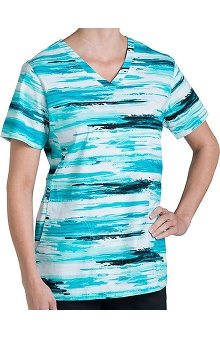 Nurse Mates Women's Natasha V-Neck Abstract Print Scrub Top