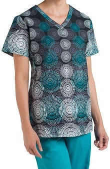 Nurse Mates Women's Perry V-Neck Geometric Print Scrub Top