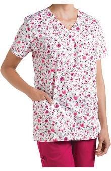 Nurse Mates Women's Phoebe Mock Wrap Floral Print Scrub Top
