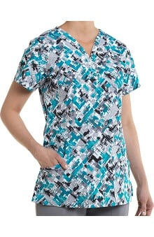 Nurse Mates Women's Sydney Henley Abstract Print Scrub Top