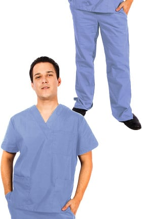 Natural Uniforms Unisex V-Neck Solid Scrub Top & Drawstring Elastic Scrub Pant Set