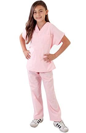 Natural Uniforms Kid's Unisex V-Neck Scrub Top & Elastic Scrub Pant Set