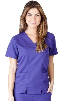 Ultrasoft Scrubs Women's Mock Wrap Solid Scrub Top