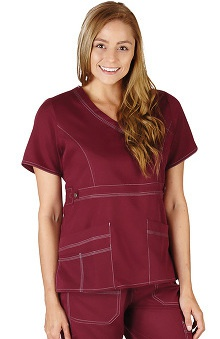 Natural Uniforms Women's Mock Wrap Solid Scrub Top