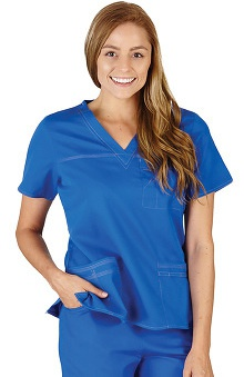 Natural Uniforms Women's V-Neck 3 Pocket Solid Scrub Top