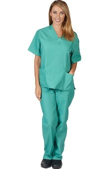 Clearance Natural Uniforms Unisex 6 Pocket Scrub Set