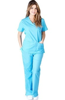 Natural Uniforms Women's Mock Wrap Scrub Set