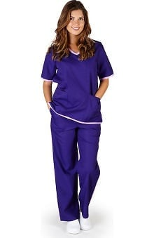 Clearance Natural Uniforms Women's Contrast Trim Scrub Set