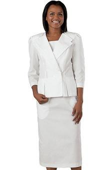 Clearance Peaches Uniforms Women's 3/4 Sleeve Double Collar Suit Scrub Dress