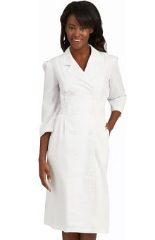 Clearance Peaches Uniforms Women's 3/4 Sleeve Embroidered Waist Scrub Dress