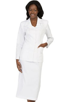Peaches Uniforms Women's Double Collar Cross Scrub Skirt Suit