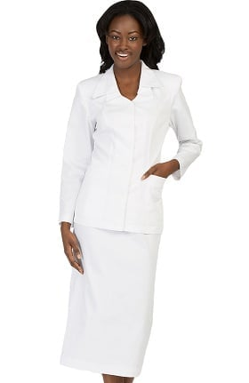 Clearance Peaches Uniforms Women's Double Collar Cross Scrub Skirt Suit