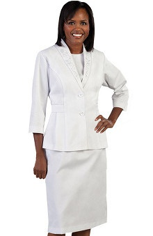 Peaches Uniforms Women's Sheath Scrub Dress with Jacket