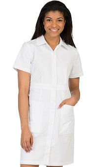 Peaches Uniforms Women's Button Down Scrub Dress with Waist Band
