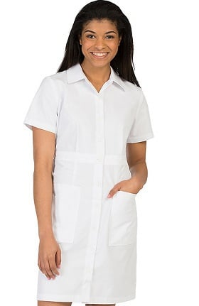 Clearance Peaches Uniforms Women's Button Down Scrub Dress with Waist Band