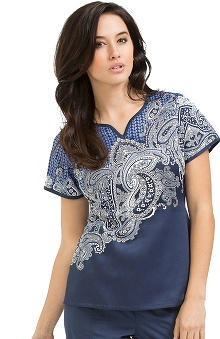 Clearance Peaches Uniforms Women's Natasha Notch Neck Paisley Print Scrub Top