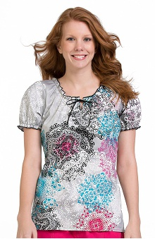 Clearance Comfort Collection by Peaches Women's Suzie Tie Neck Print Scrub Top