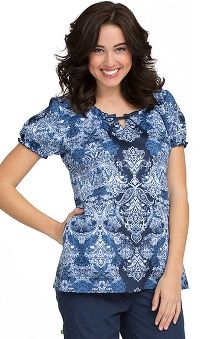 Clearance Comfort Collection by Peaches Women's Suzie Tie Notch Neck Paisley Print Scrub Top