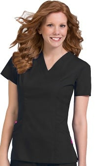 Plus Size new: Comfort Collection by Peaches Women's Paige V-Neck Princess Seam Scrub Top