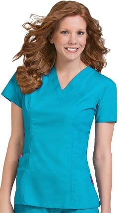 Clearance Comfort Collection by Med Couture Women's Paige V-Neck Princess Seam Scrub Top