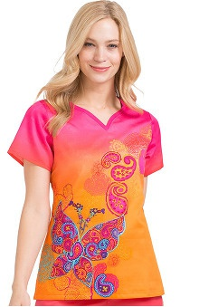 Peaches Uniforms Women's Notch Neck Butterfly Print Scrub Top