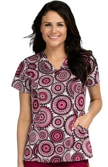 Med Couture Women's Ivy Geometric Print Scrub Top