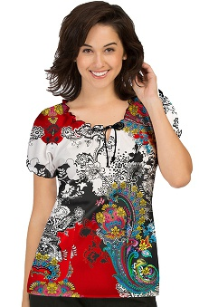 Med Couture Women's Suzie Paisley Print Scrub Top