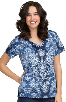 Clearance Comfort Collection by Peaches Women's Liz V-Neck Paisley Print Scrub Top