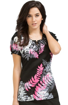 Clearance Peaches Uniforms Women's Suzie Leaf Print Scrub Top