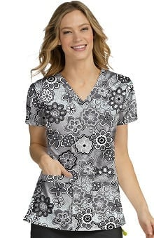 Clearance Med Couture Women's Ivy Floral Print Scrub Top