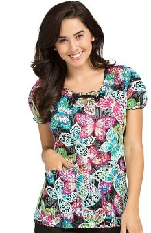 Clearance Comfort Collection by Peaches Women's Suzie Butterfly Print Scrub Top