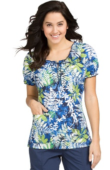 Clearance Peaches Uniforms Women's Suzie Leaves Print Scrub Top