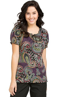 Clearance Peaches Uniforms Women's Suzie Paisley Print Scrub Top