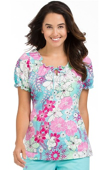 Clearance Comfort Collection By Peaches Women's Suzie Floral Print Scrub Top