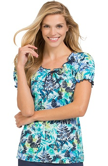 Comfort Collection By Peaches Women's Suzie Botanical Print Scrub Top