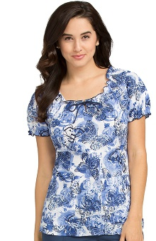 Comfort Collection by Peaches Women's Suzie Butterfly Print Scrub Top