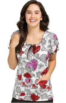 Comfort Collection by Peaches Women's Suzie Hearts Print Scrub Top