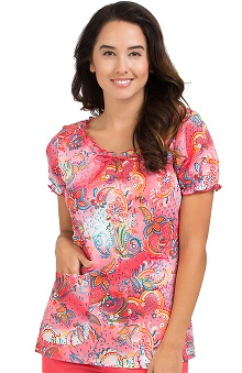 Comfort Collection By Peaches Women's Suzie Paisley Print Scrub Top