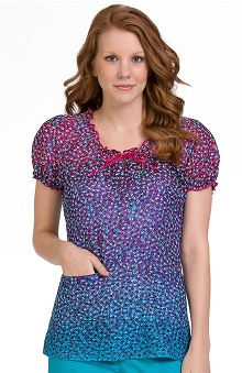 Clearance Comfort Collection by Peaches Women's Suzie Print Scrub Top