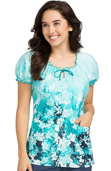 Comfort Collection by Peaches Women's Suzie Floral Print Scrub Top