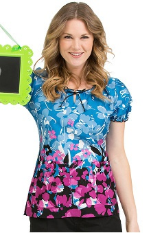 Clearance Comfort Collection by Peaches Women's Suzie Flower Print Scrub Top