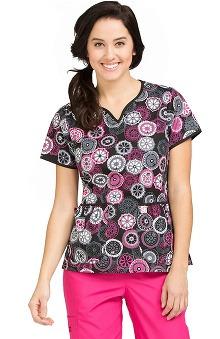 Clearance Life Is Peachy by Peaches Women's Natasha Notch Neck Retro Print Scrub Top