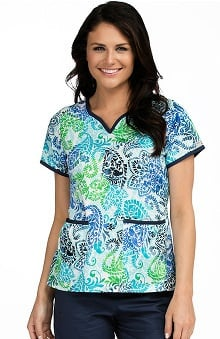 Clearance Med Couture Women's Natasha Notch Neck Paisley Print Scrub Top
