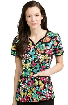 Med Couture Women's Natasha Notch Neck Butterfly Print Scrub Top