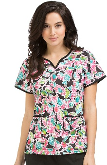 Clearance Peaches Uniforms Women's Natasha Notch Neck Botanical Print Scrub Top