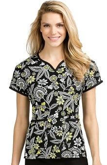 Med Couture Women's Natasha Notch Neck Floral Print Scrub Top