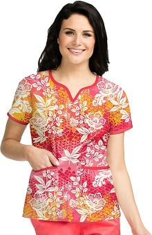Clearance Peaches Uniforms Women's Natasha Notch Neck Floral Print Scrub Top